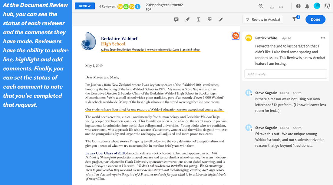 collect feedback with Acrobat Document Review